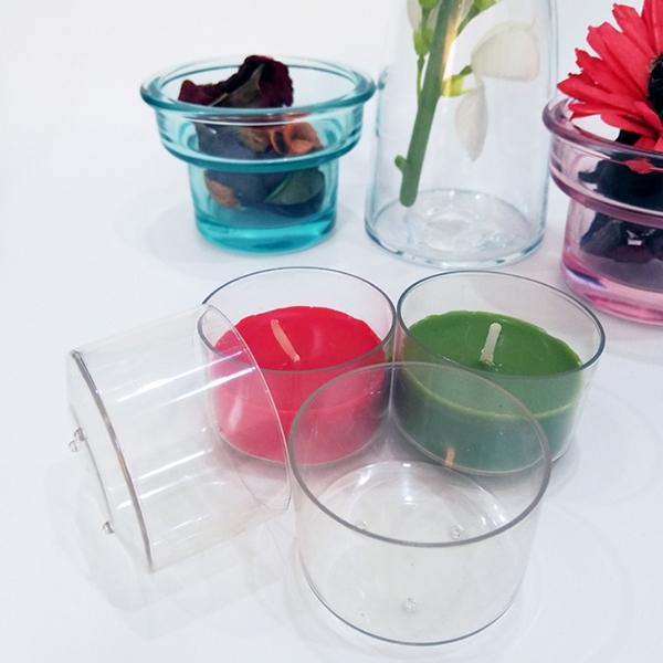 PC110透明阻燃塑料茶蜡杯